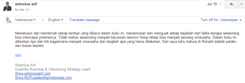 Coach Arief endorsement